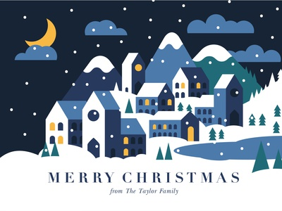 Winter Village stationery greeting card festive christmas night mountains town house geometric vector snow village winter