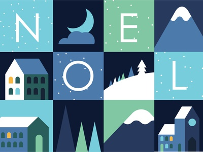 Noel stationery greeting card village snow winter moutains building square noel christmas house geometric vector