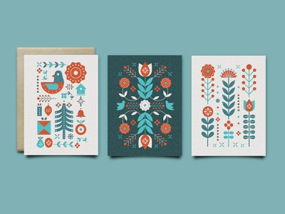 Folk Greeting Card Set stationery christmas leaves bird flowers symmetrical geomtric folk greeting card