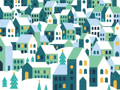 Christas Village night christmas tree stationery greeting card house town winter festive houses geometric village christmas pattern
