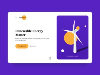 Renewable Energy Web Design ui uiuxdesign uiux clean renewable energy turbine blender 3d modeling 3d illustration illustrator renewable website concept website design websites website