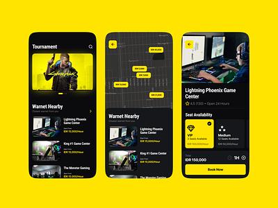 Warnet Finder ui uiux dark app dark gaming mobile app design mobile design mobile app mobile ui mobile