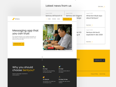 Chatting App Landing Page landing page emoticon icon talk chatting chat yellow websites design ui design uiux ui website design website