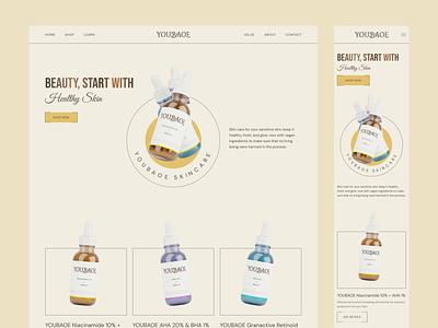 YOUBAOE, Plant Based Skincare Product plant based vegan salon beauty skincare 3d design 3d website design website