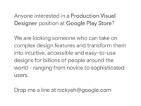Production Visual Designer position at Google Play Store