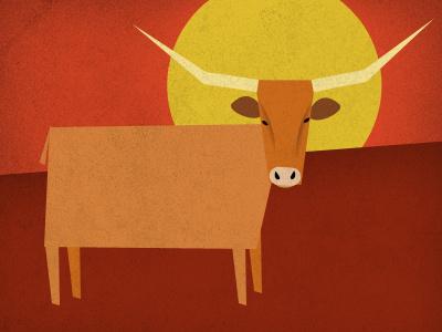 TX Summer illustration longhorn summer texas austin red yellow