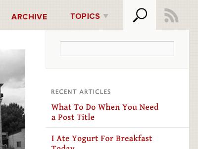 Yogurt for Breakfast blog search ui red