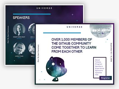 GitHub Universe Exploration space landing page conference github universe
