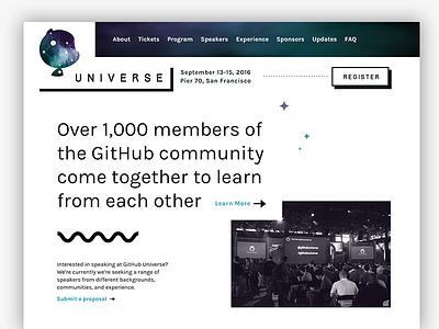 GitHub Universe Exploration, Take 2 black and white squiggle universe github conference