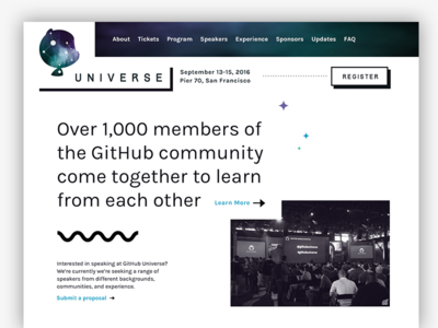 GitHub Universe Exploration, Take 2 black and white squiggle universe github conference
