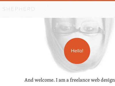 sophieshepherd.com home website personal bio orange white photo responsive