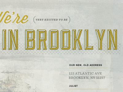In Brooklyn lost type yellow gray texture sullivan wisdom script brooklyn