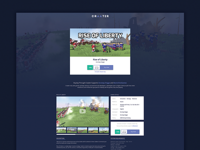 Craater Store Page store design web design ui gaming games game craater store design