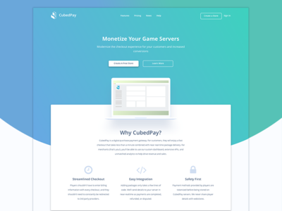 CubedPay Landing Page gradient layout payment design homepage home cubedpay landing