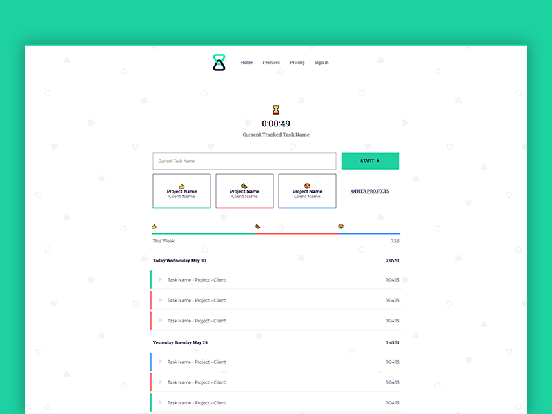 Hocus App Timer minimal ui design web tracker timer hocus