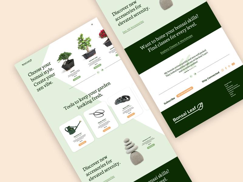 Bonsai Shop minimal dailyui flat ecommerce plants shopping typography branding web ui ux website design website