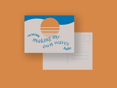 Vintage Inspired Postcard vacation surf retro adventure print minimal simple waves postcard typography vintage