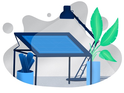 Blueprint web procreate illustration