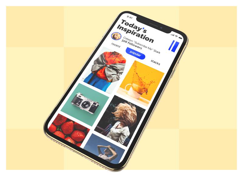Today's Mobile App app ui ux 2019 mobile instagram pinterest social grid ios bright white gold blue