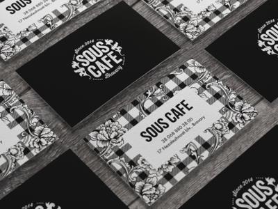 Business card for SOUS CAFE vintage floral card business card