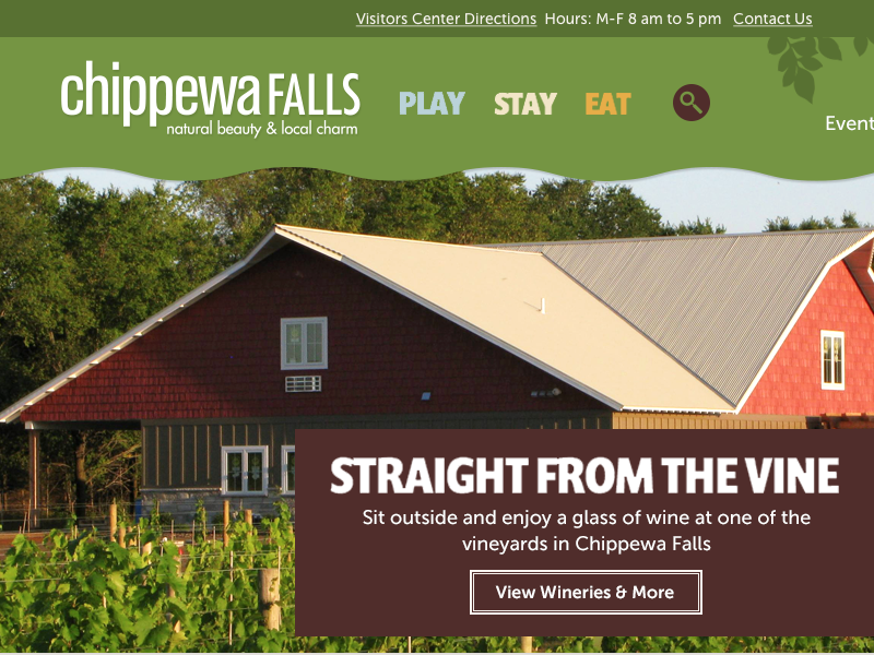 Visit Chippewa Redesign website travel web design green tourism web