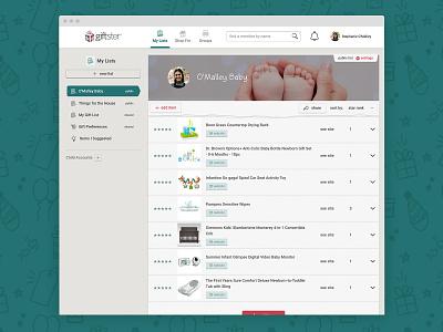 Giftster.com wish list list gift registry website design web design ux ui product design