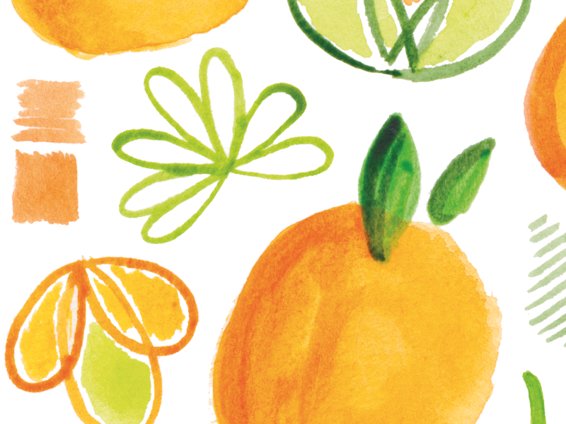 Saved by the Buoyancy of Citrus watercolor orange painting pattern green citrus