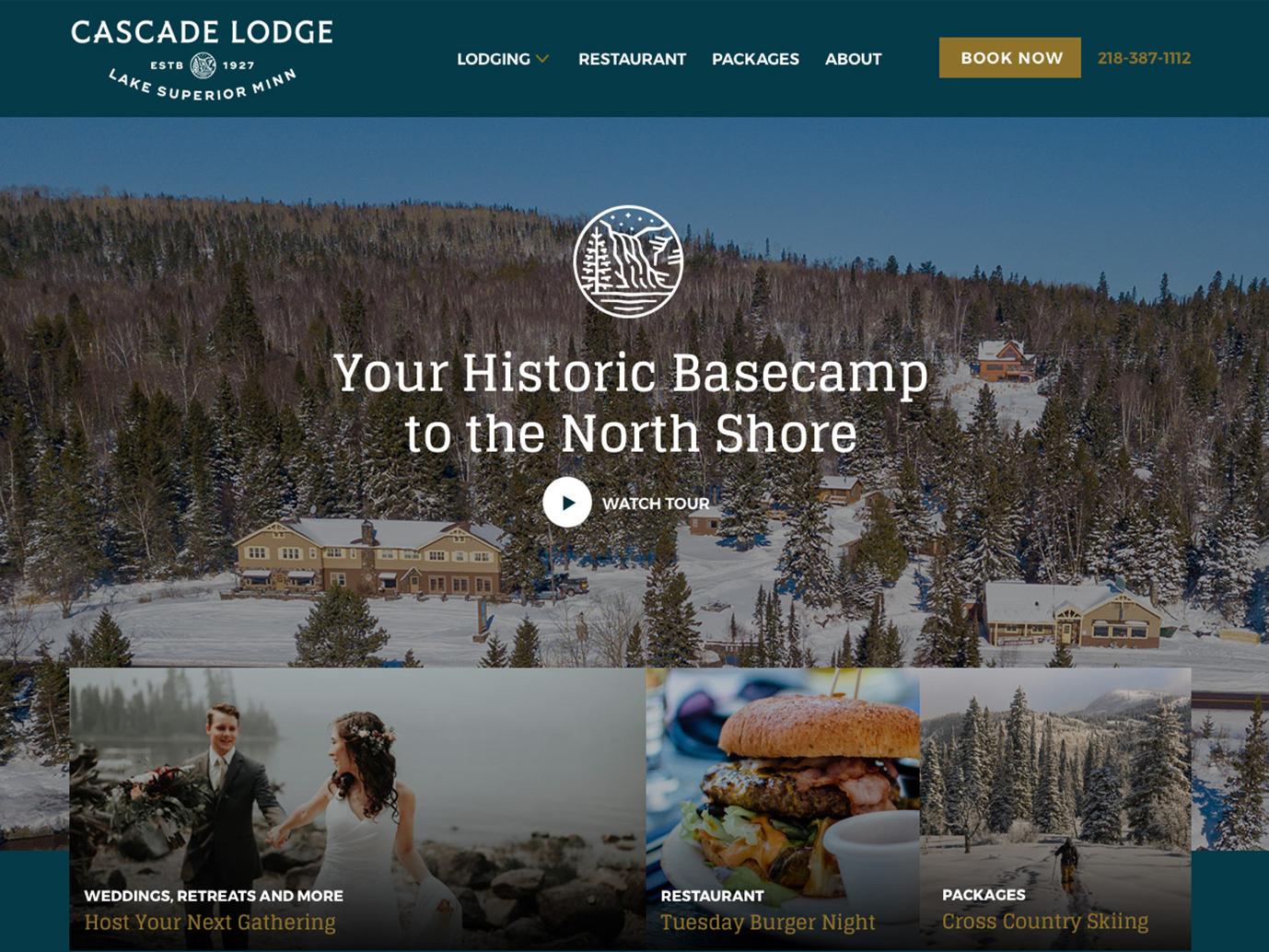 Cascade Lodge Website Design hospitality cabin vacation rental lodge minnesota tourism travel website web design
