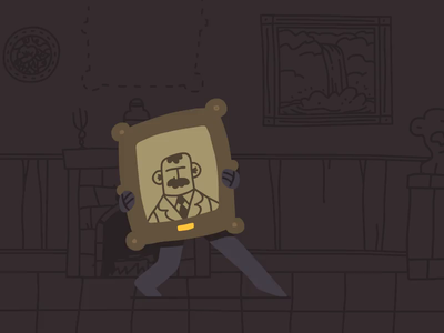 Sneaking around portrait painting painting old house mystery stolen theft thief missing grandparents grandpa animate cc adobe animate character design character drawing minimal hand drawn vector illustration illustrator