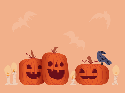Ready for Halloween pumpkins bats candles bird raven crow jack o lantern pumpkin halloween character design line character hand drawn editorial minimal drawing vector illustration