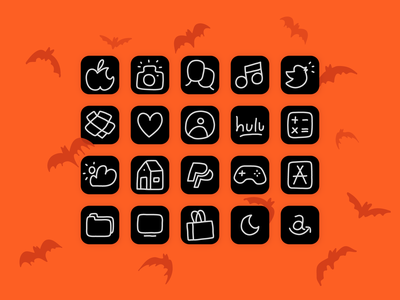 Halloweeny iOS14 Icons scary creepy bats iconset icons icon ios14 iphone app ipad halloween apple flat line hand drawn drawing minimal illustrator