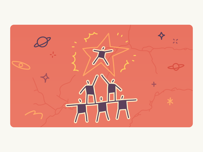 5 Relationships to Build Career blog illustrator sponsor competitor partner mentee mentor people relationships stick figures cave painting blog cover hbr editorial hand drawn minimal drawing illustration