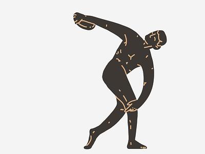 Discobolus thick lines athletic energy antic greek bronze myron discobolus ugly sculpture minimal lines illustration