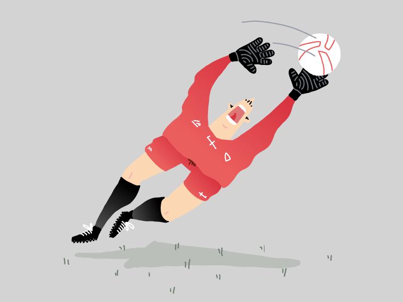 Soccer Jump clean drawing editorial illustration line minimal vector soccer football sport goalkeeper ball