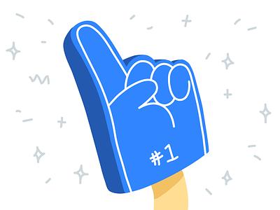 Number 1 fan supporter win team hands blog hand drawn sports foam finger number 1 foam hand hand illustrator flat drawing line editorial vector minimal illustration