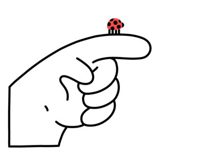 Good Luck finger flat character hand drawn illustrator drawing editorial line vector clean minimal illustration lady bug hand good luck ladybug