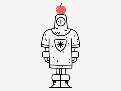 First Quest archery archer knight apple on head bow and arrow dungeons and dragons fantasy medieval character make it pop hand drawn illustrator line editorial drawing clean vector minimal illustration
