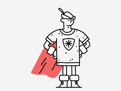 Become the Hero knight robin hood archery archer medieval dungeons and dragons fantasy hero character make it pop hand drawn illustrator flat line editorial drawing clean vector minimal illustration