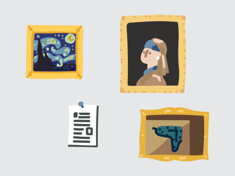 Blog in your Portfolio Website gallery framed paintings printer paper salvador dali clock johannes vermeer girl with a pearl earring the starry night van gogh famous painting themes kingdom blog hand drawn illustrator flat editorial drawing clean vector minimal illustration