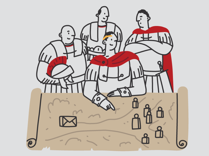 Get More Subscribers strategy subscribers newsletter roman army generals war plan map history cezar romans rome themes kingdom blog character hand drawn illustrator line editorial drawing illustration