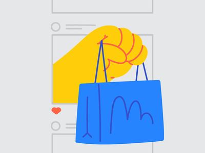 Selling On Instagram sponsored vector shop instagram selling buying shopping bag shopping cart hand themes kingdom blog character hand drawn illustrator line editorial drawing minimal illustration