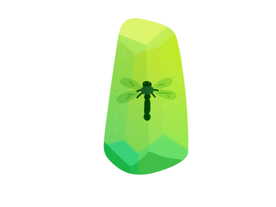 Emerald Dragonfly mineral minerals crystals crystal dragonfly insects insect hand drawn illustrator flat editorial drawing clean vector minimal illustration