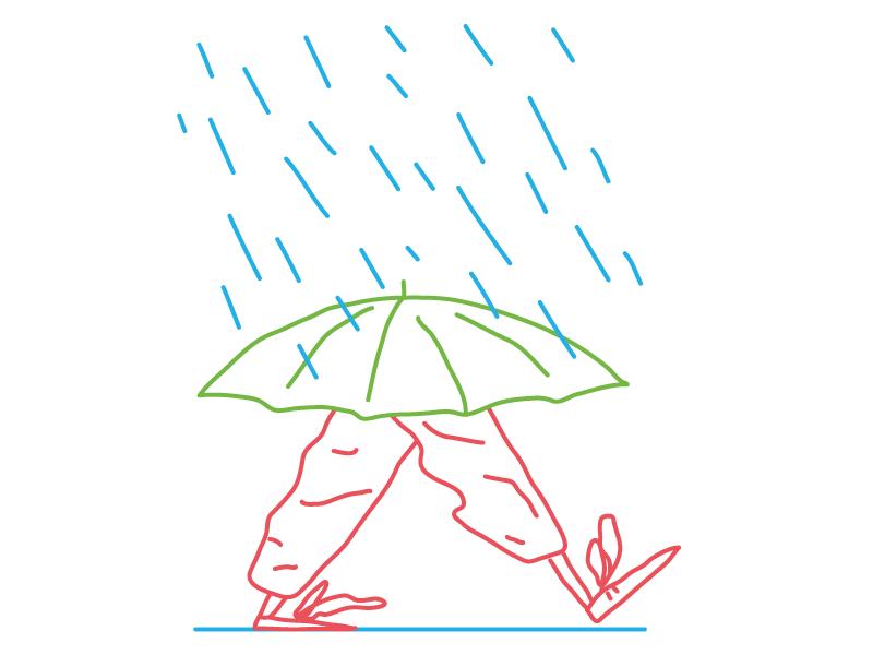 Walking in the Rain umbrellas umbrella walking rgb red green blue rainy rain drops rain feet character hand drawn line flat illustrator editorial drawing clean vector minimal illustration