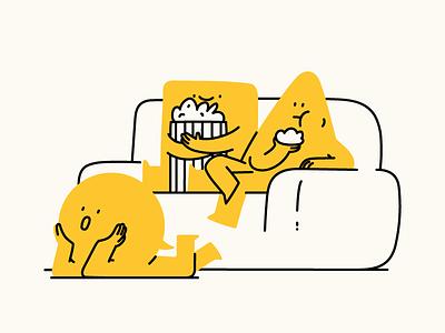 Watching movies watching tv character design character art popcorn movies couch watching landing page character hand drawn flat illustrator editorial drawing vector minimal illustration