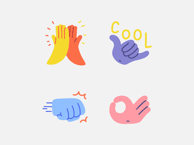 Handy Hands - Snapchat stickers ok hand sign punch high five snapchat snap gesture gestures sticker pack stickers sticker hand character hand drawn flat illustrator editorial drawing vector minimal illustration