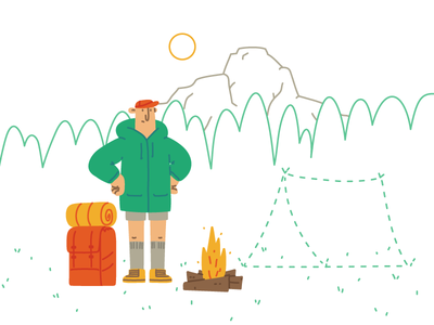 Camping Fail mountain peak forest backpack camp fire forget tent camper camping landing page blog character hand drawn illustrator editorial drawing vector illustration