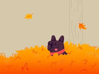 Finn Loves the Autumn animals dog lover doggy playful autumn leaves frenchie animal dogs dog illustration dog character hand drawn illustrator drawing illustration