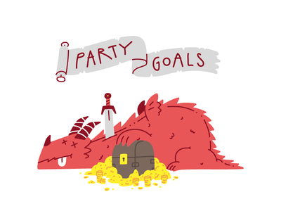 Party Goals party goals dndarmory dungeons and dragons dungeonsanddragons dungeons  dragons clean vector character hand drawn illustrator drawing illustration gold chest loot dragon dnd
