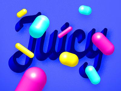 Juicy juice juicy modernart floating candy capsule colorful geometric geometry typography type 3d