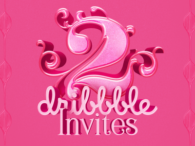 2 Dribbble invites to give away type graphicdesign font clean art vector logo 3d lettering typography invitation invites